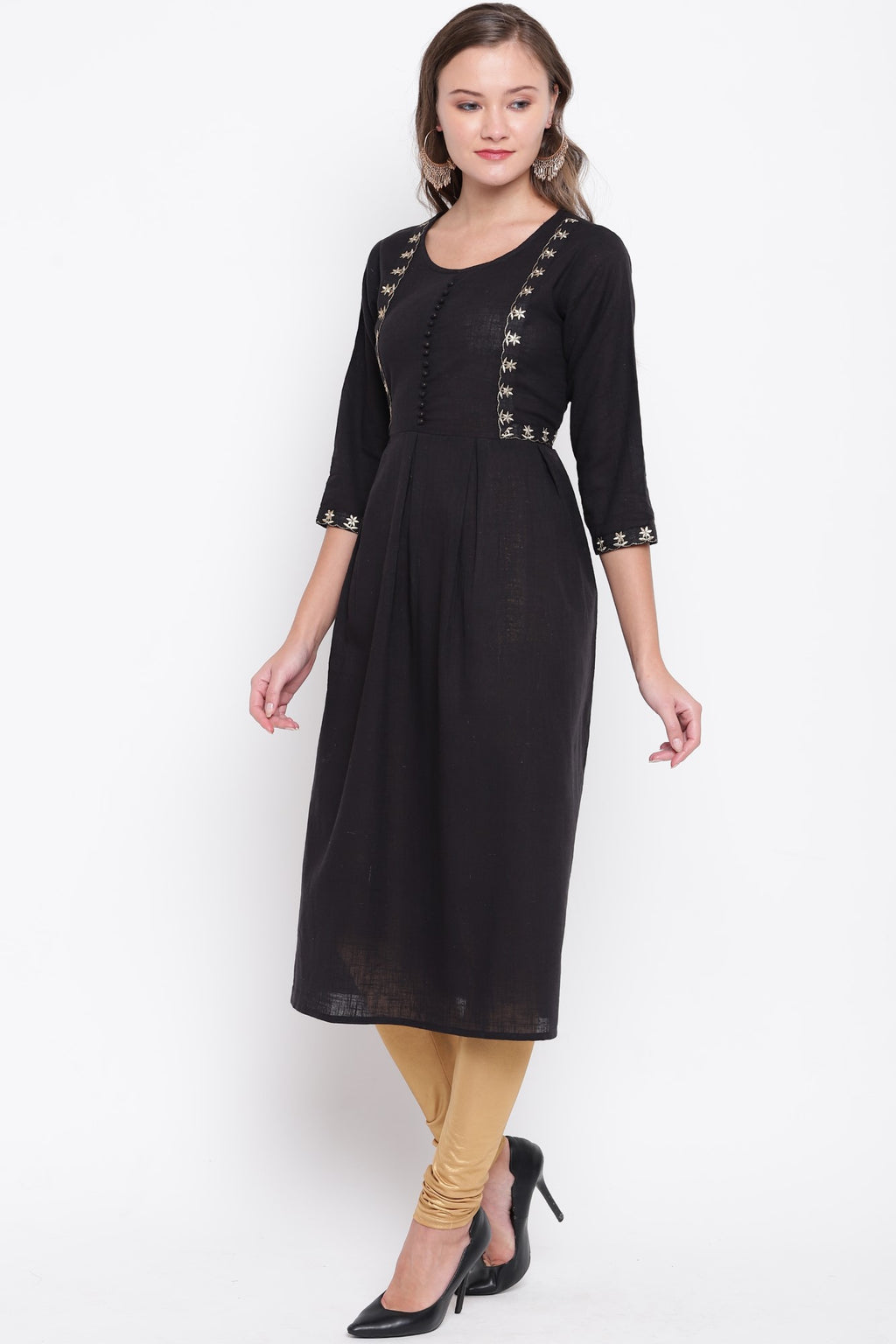 Black Color Cotton Casual Wear Kurtis NYF-8913
