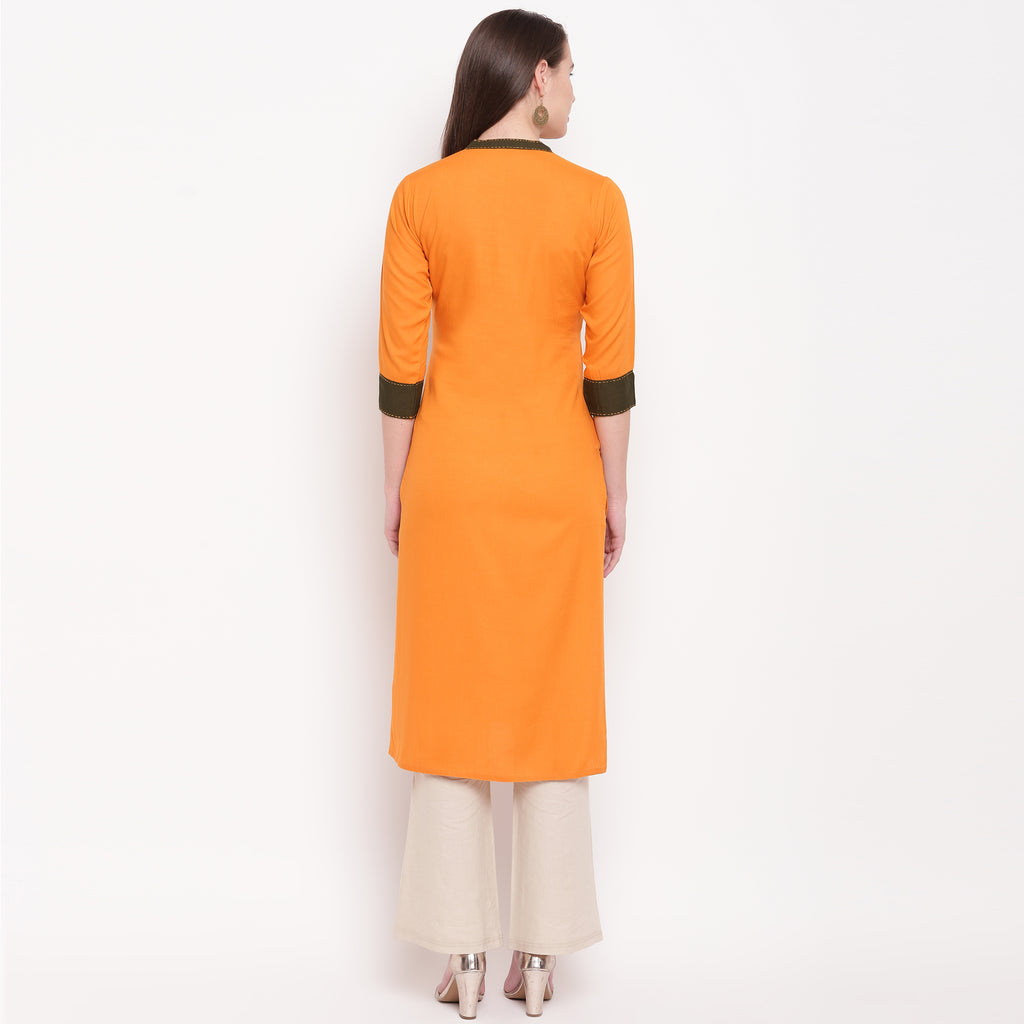 Mustard Orange Color Rayon Casual Wear Kurtis NYF-8924