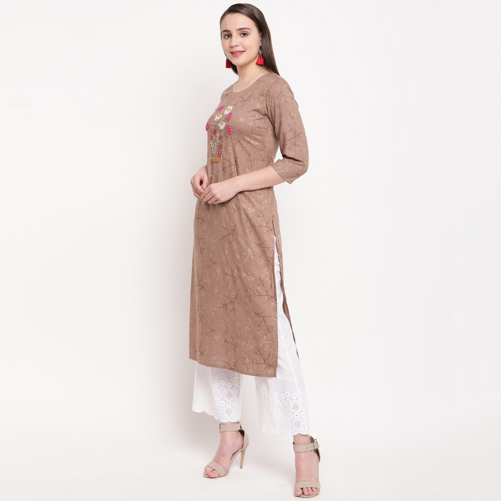 Brown Color Rayon Casual Wear Kurtis NYF-8930