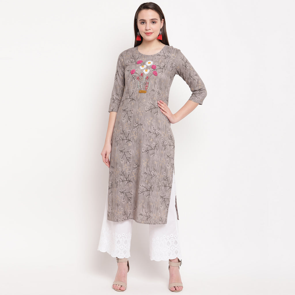Grey Color Rayon Casual Wear Kurtis NYF-8936