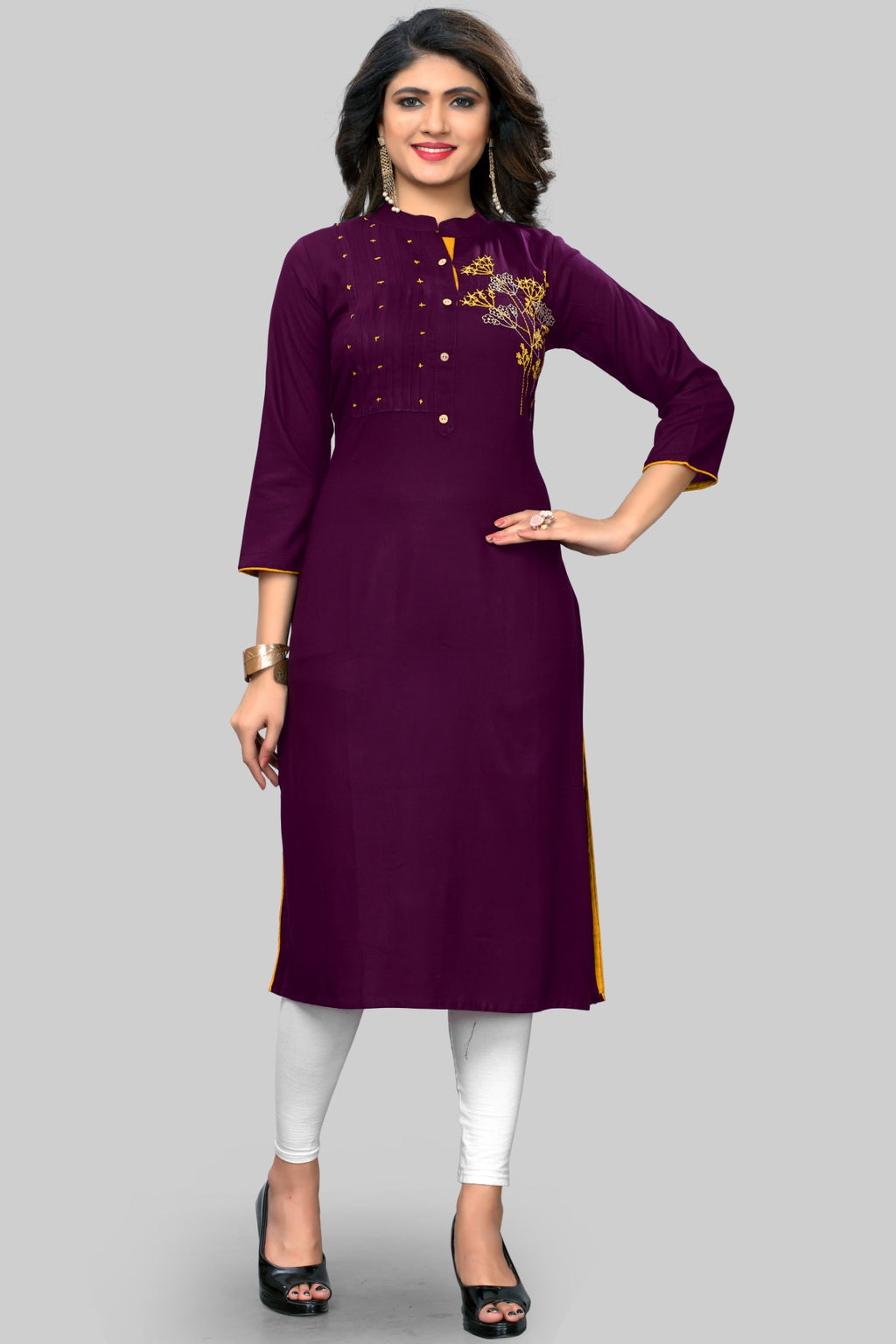 Purple Color Rayon Casual Wear Kurtis NYF-8942