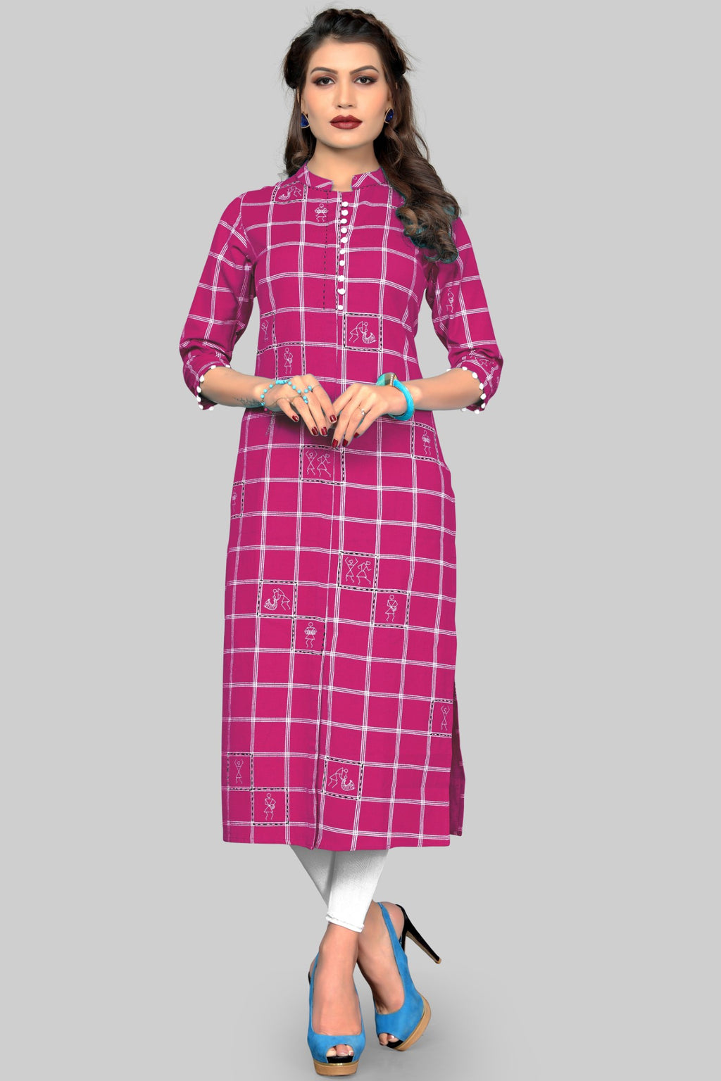 Pink Color Cotton Casual Wear Kurtis NYF-8948
