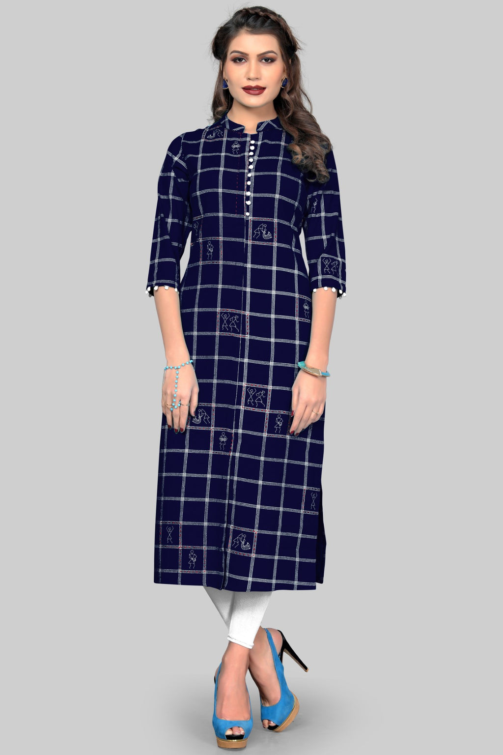 Blue Color Cotton Casual Wear Kurtis NYF-8954