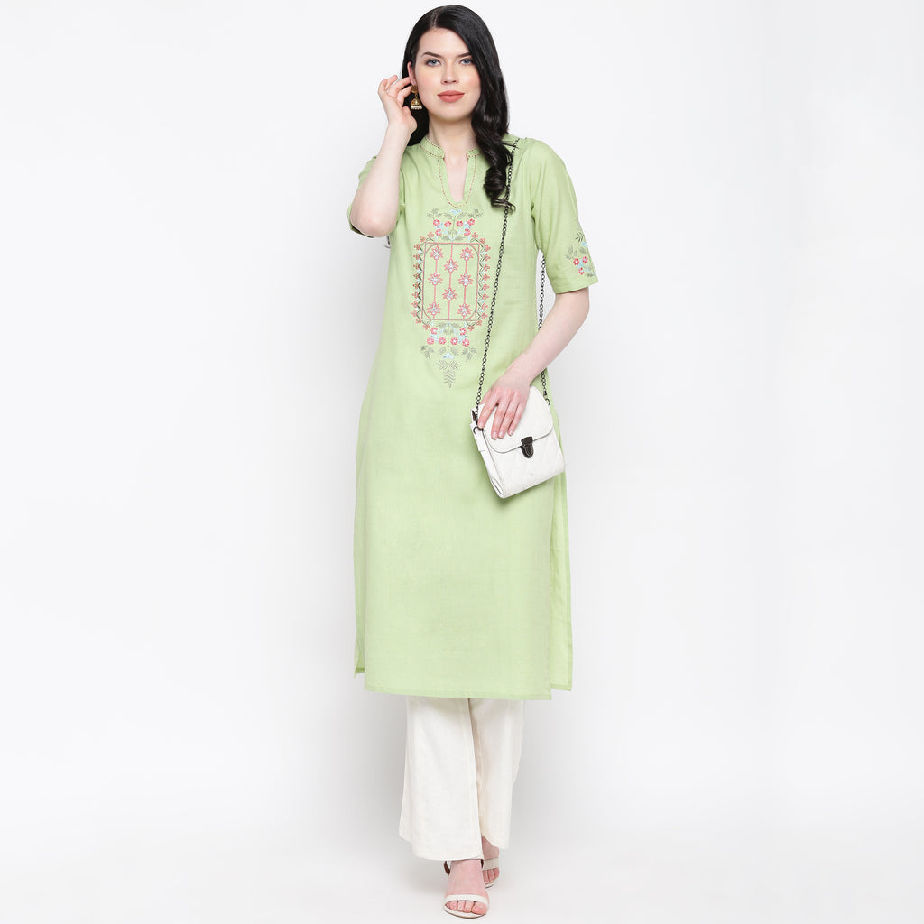 Pastel Green Color Cotton Casual Wear Kurtis NYF-8960