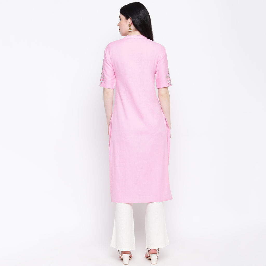Baby Pink Color Cotton Casual Wear Kurtis NYF-8966