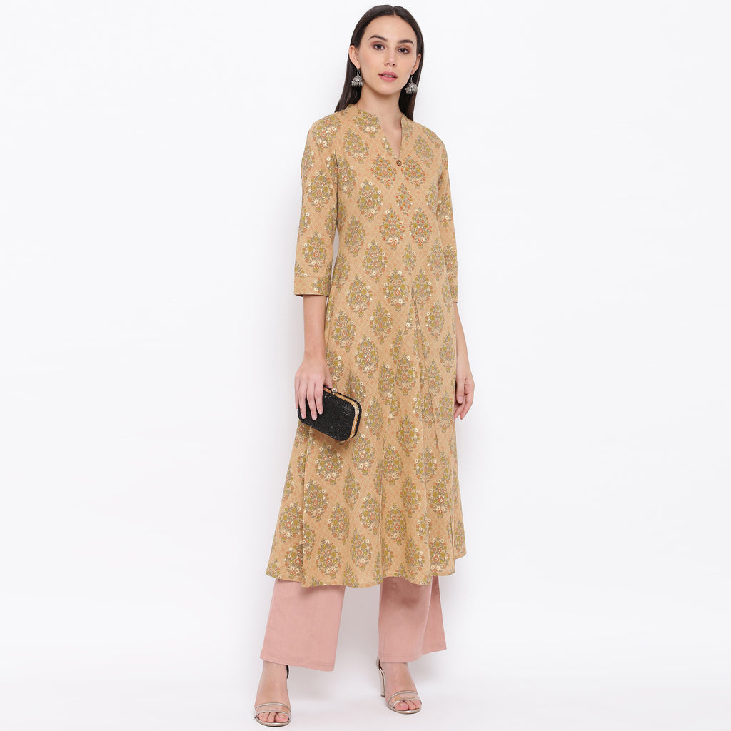 Beige Color Cotton Casual Wear Kurtis NYF-8984