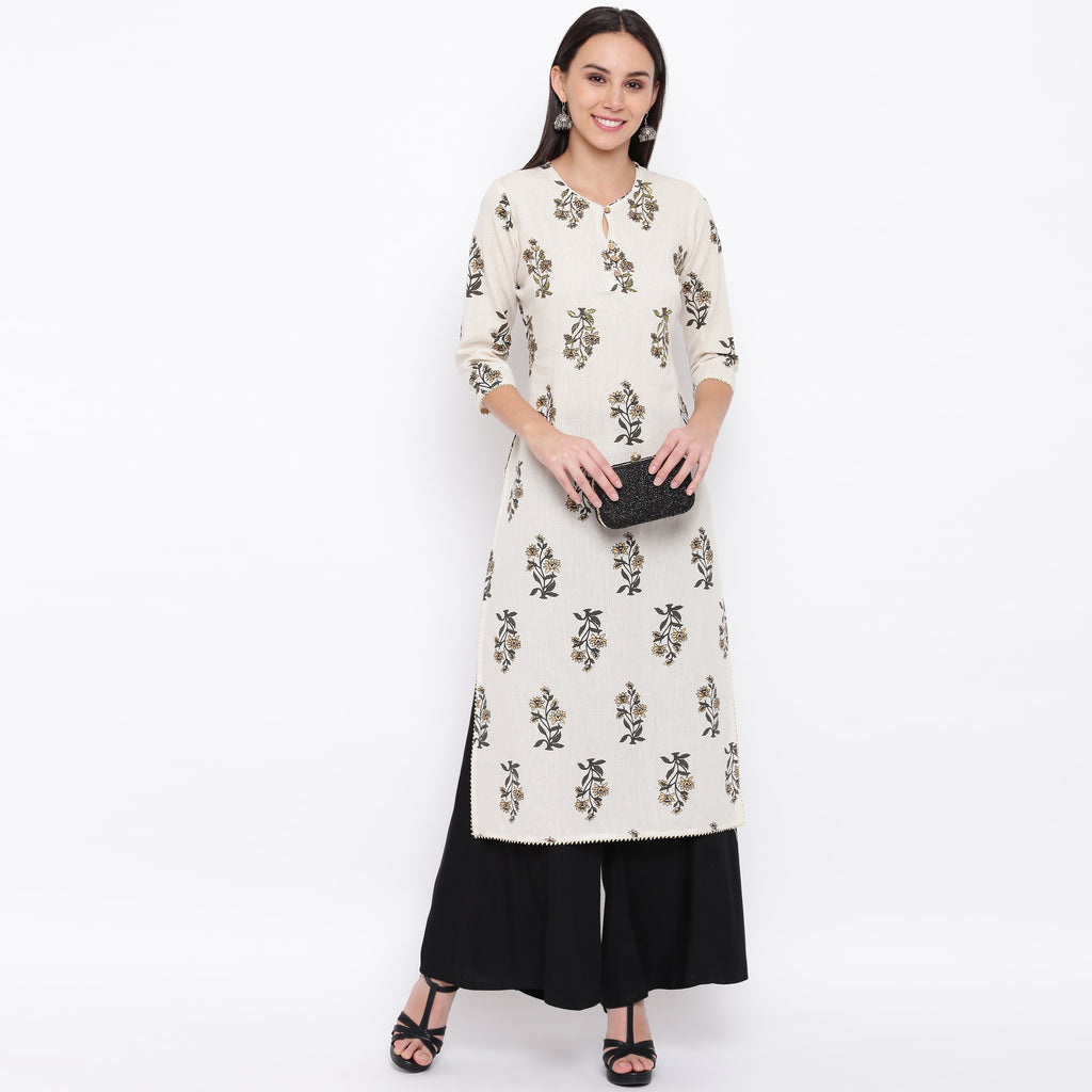 White Color Cotton Casual Wear Kurtis NYF-8992