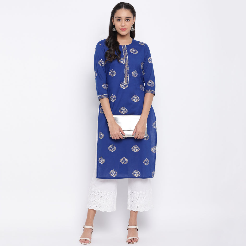 Ink Blue Color Cotton Casual Wear Kurtis NYF-8998
