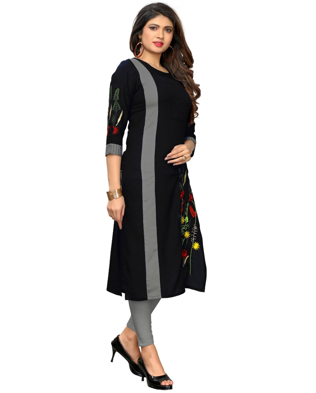 Black  Color Rayon Casual Wear Kurtis NYF-9004