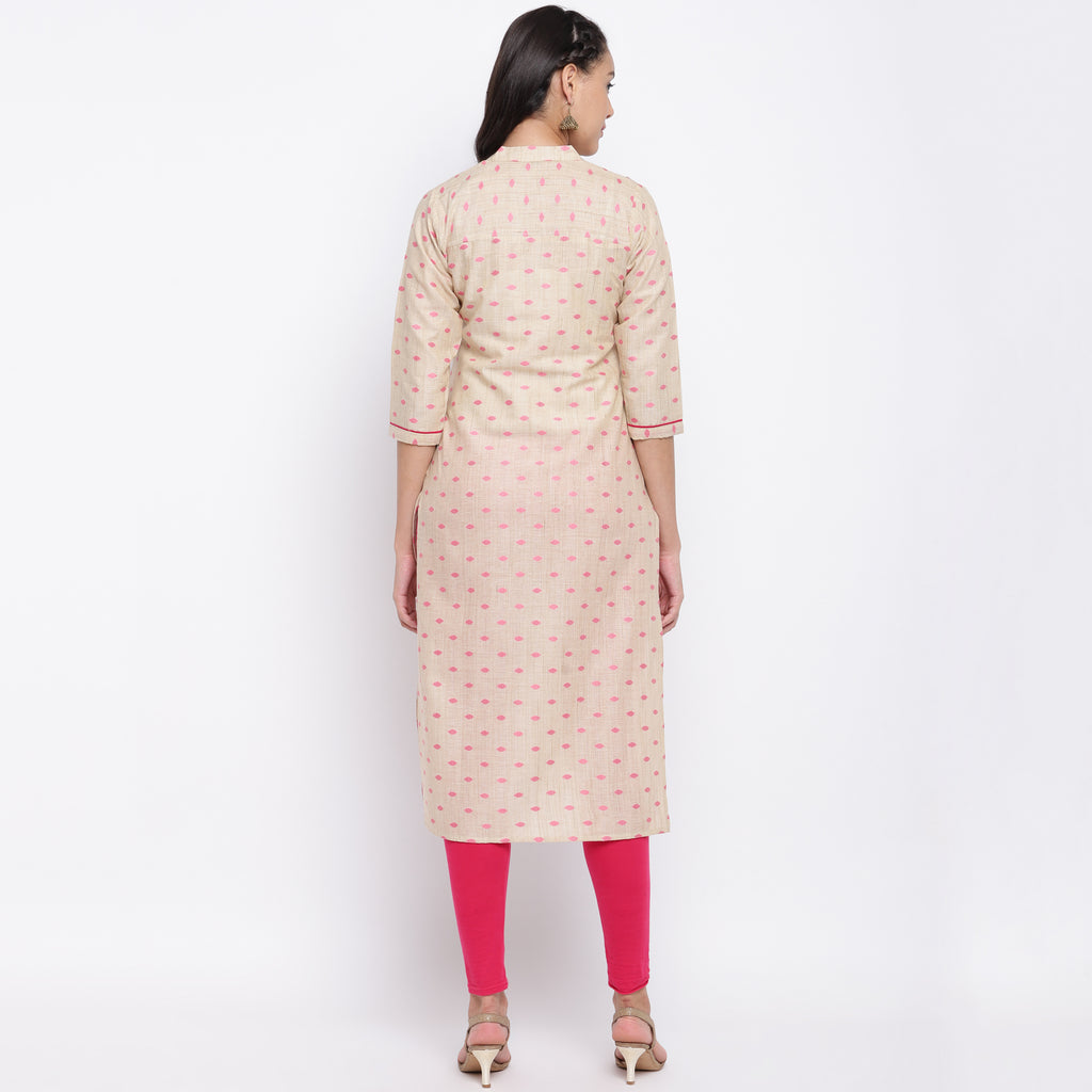 Cream Color Cotton Casual Wear Kurtis NYF-9010