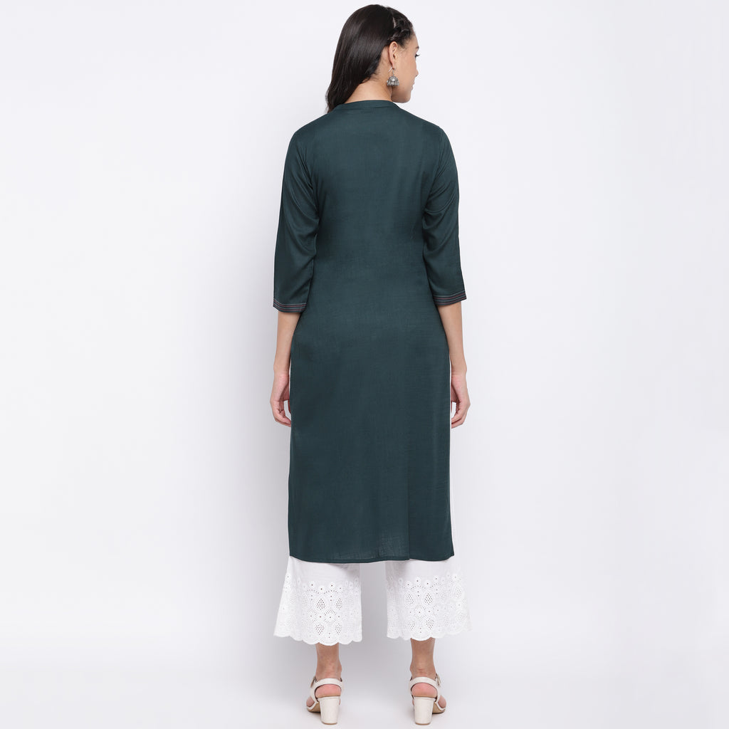 Rama Green Color Slub Rayon Casual Wear Kurtis NYF-9013
