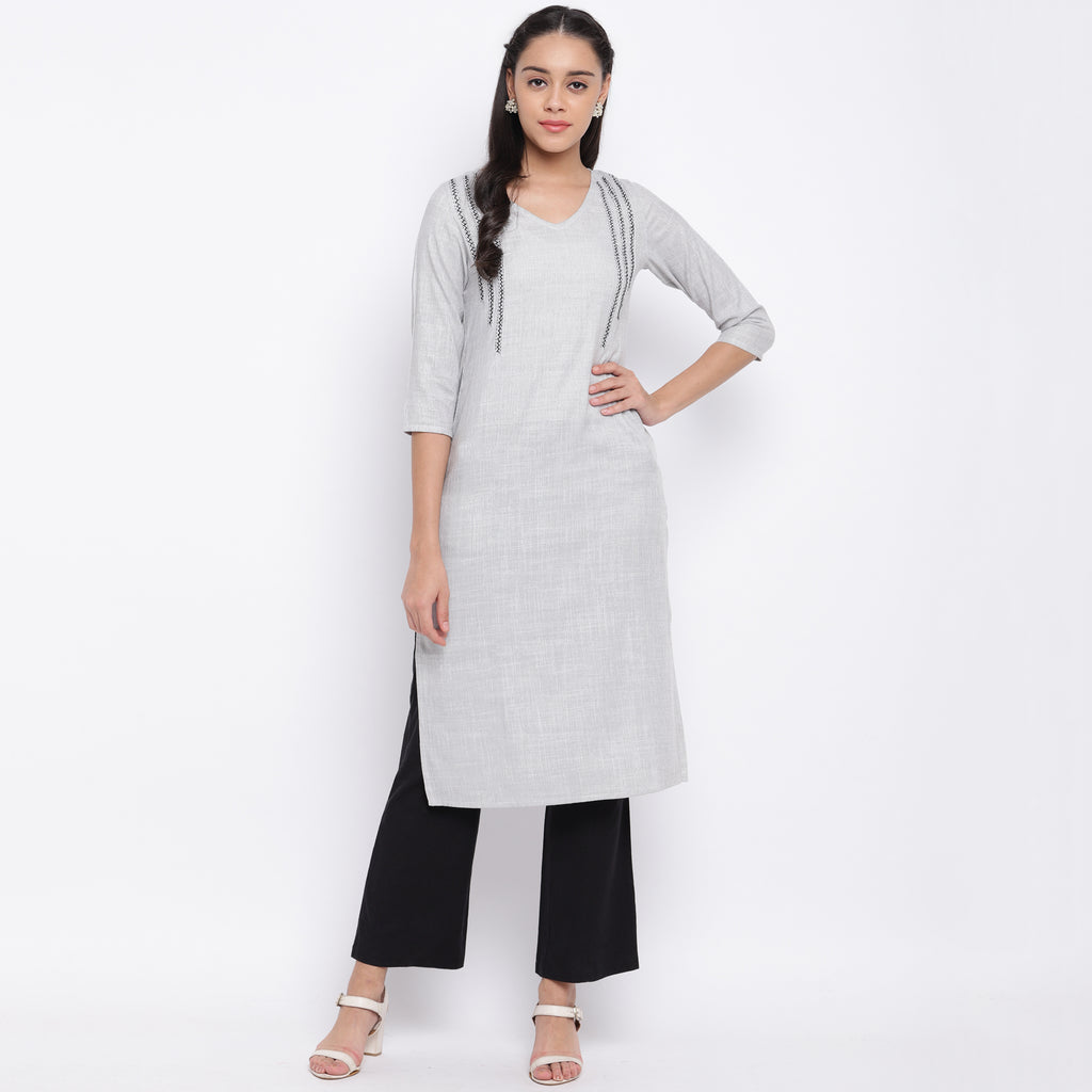 Light Grey Color  Rayon Casual Wear Kurtis NYF-9020