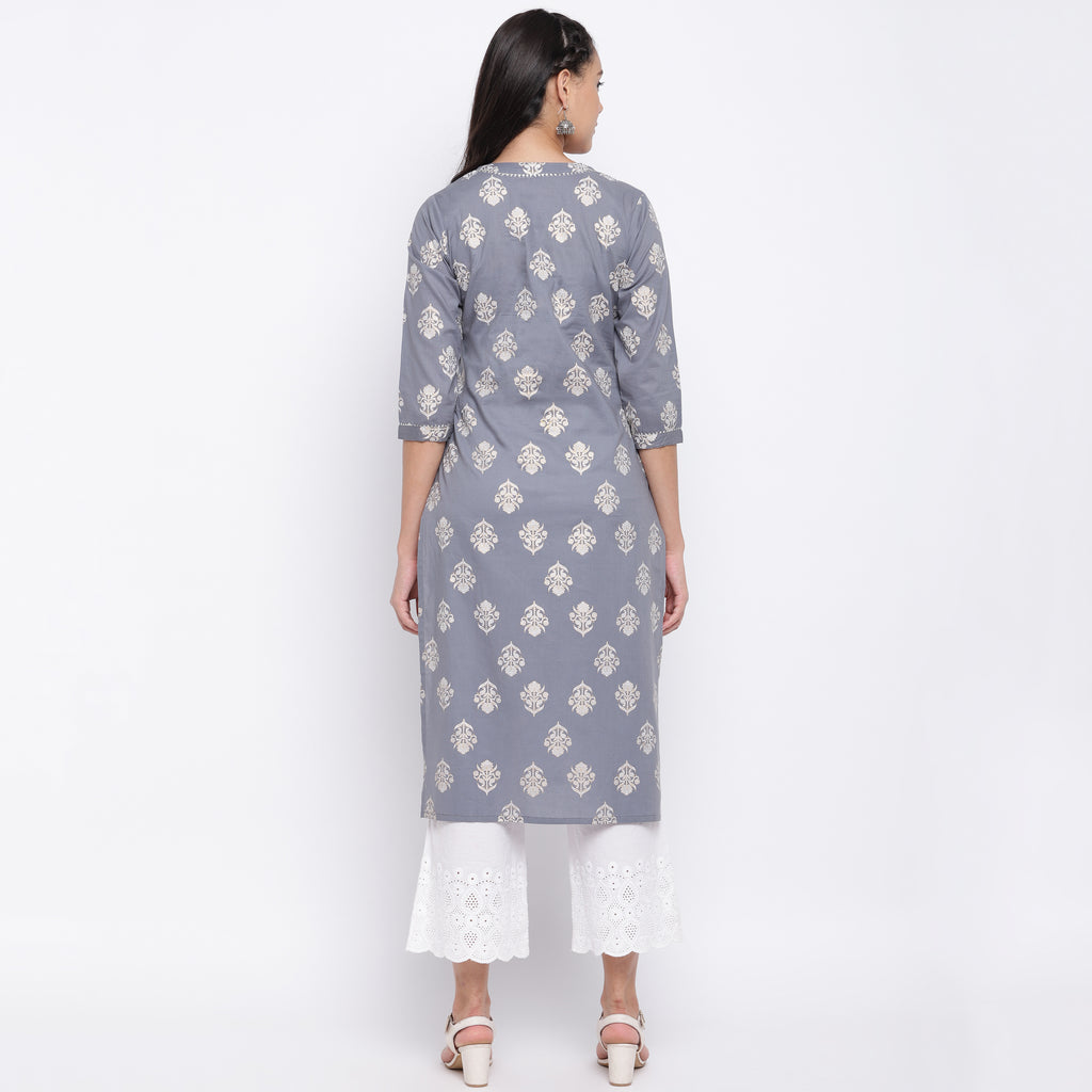 Grey Color Cotton Casual Wear Kurtis NYF-9026