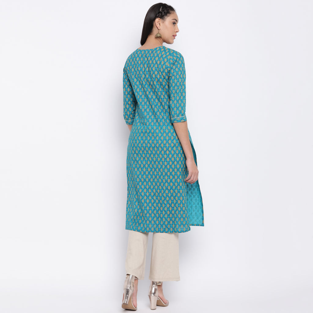Firozi Color Cotton Casual Wear Kurtis NYF-9032