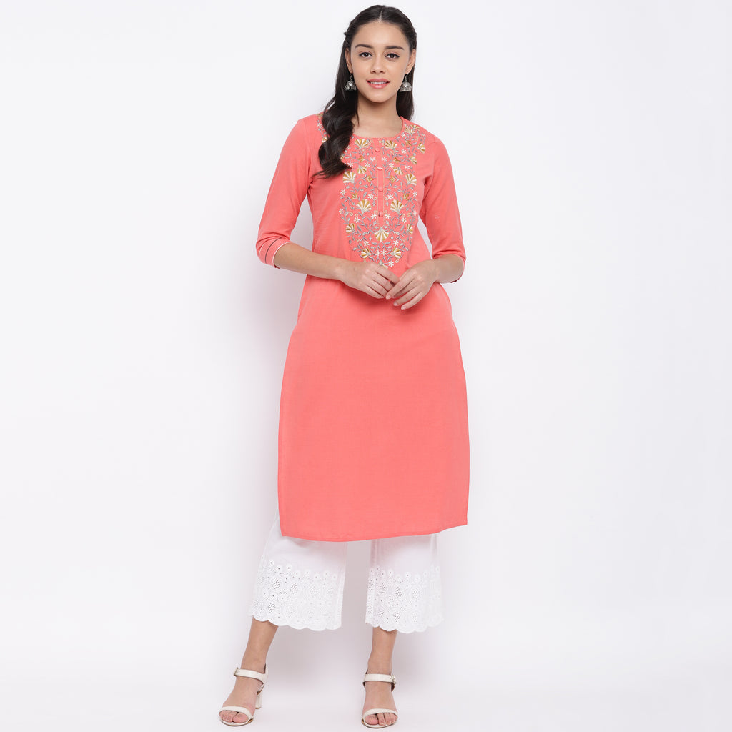 Peach Color Cotton Casual Wear Kurtis NYF-9038