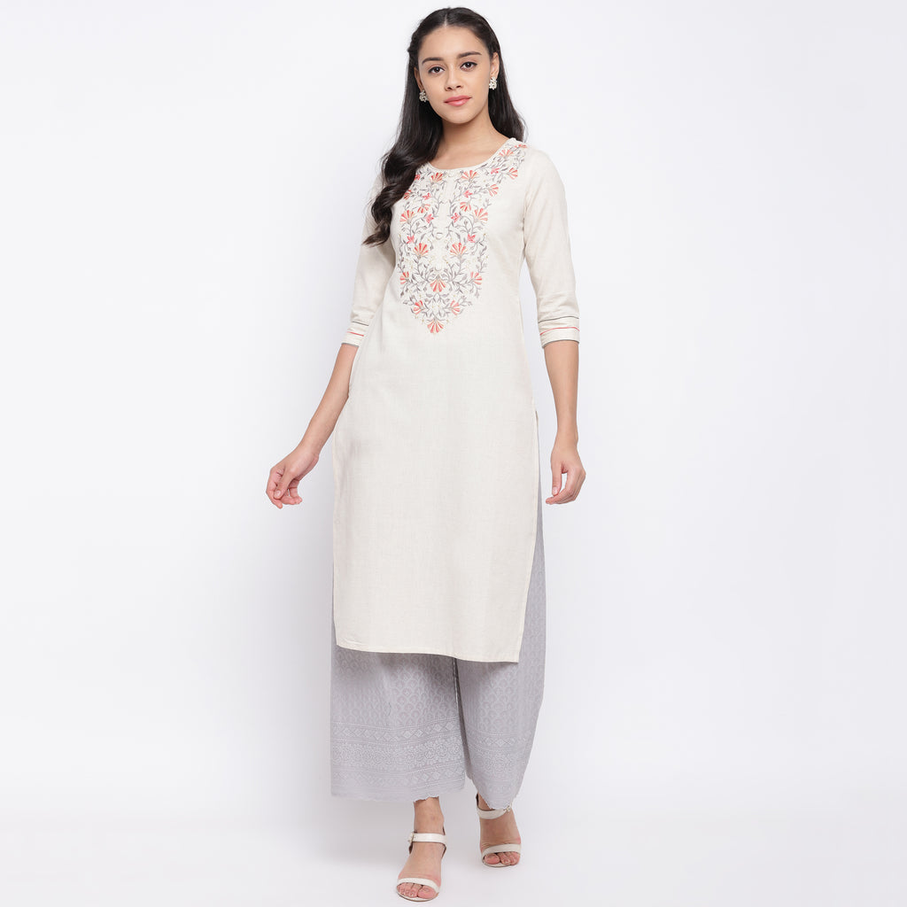 White Color Cotton Casual Wear Kurtis NYF-9044