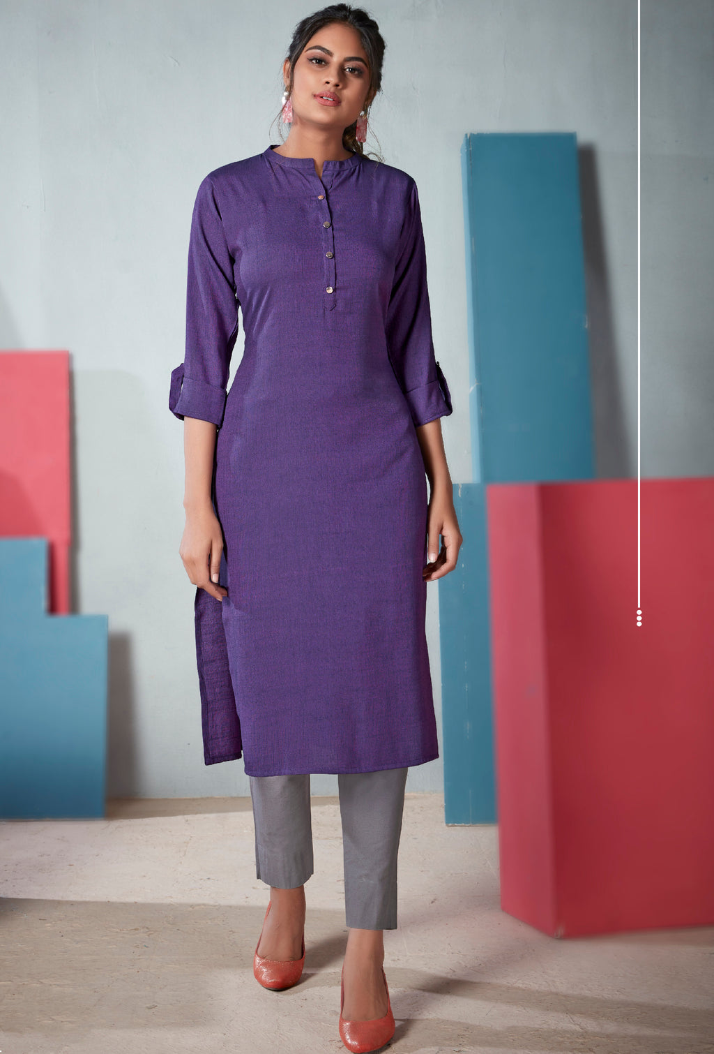 Purple Color Two Tone Rayon Daily Wear Kurtis NYF-9124