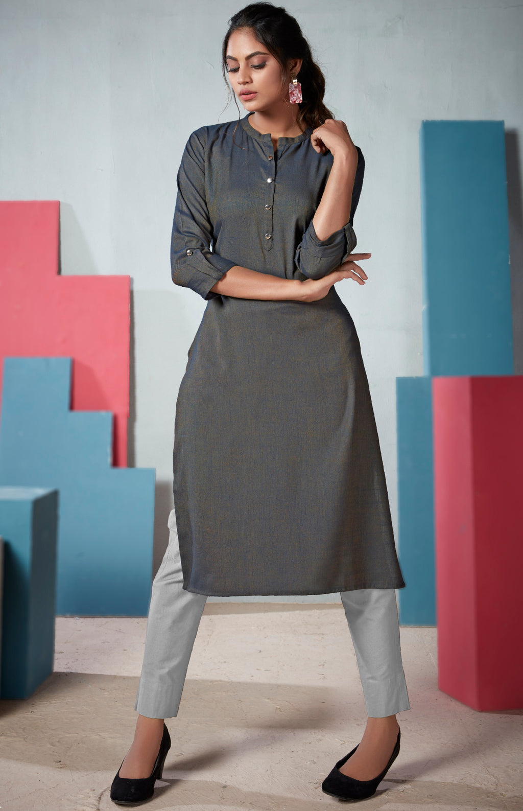 Grey Color Two Tone Rayon Daily Wear Kurtis NYF-9128