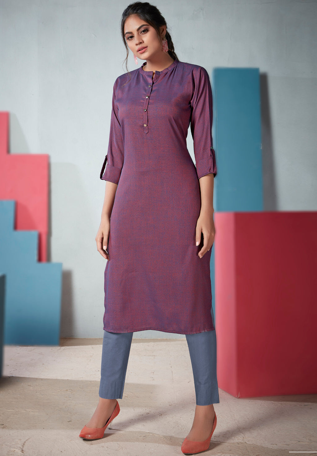 Purple Color Two Tone Rayon Daily Wear Kurtis NYF-9136