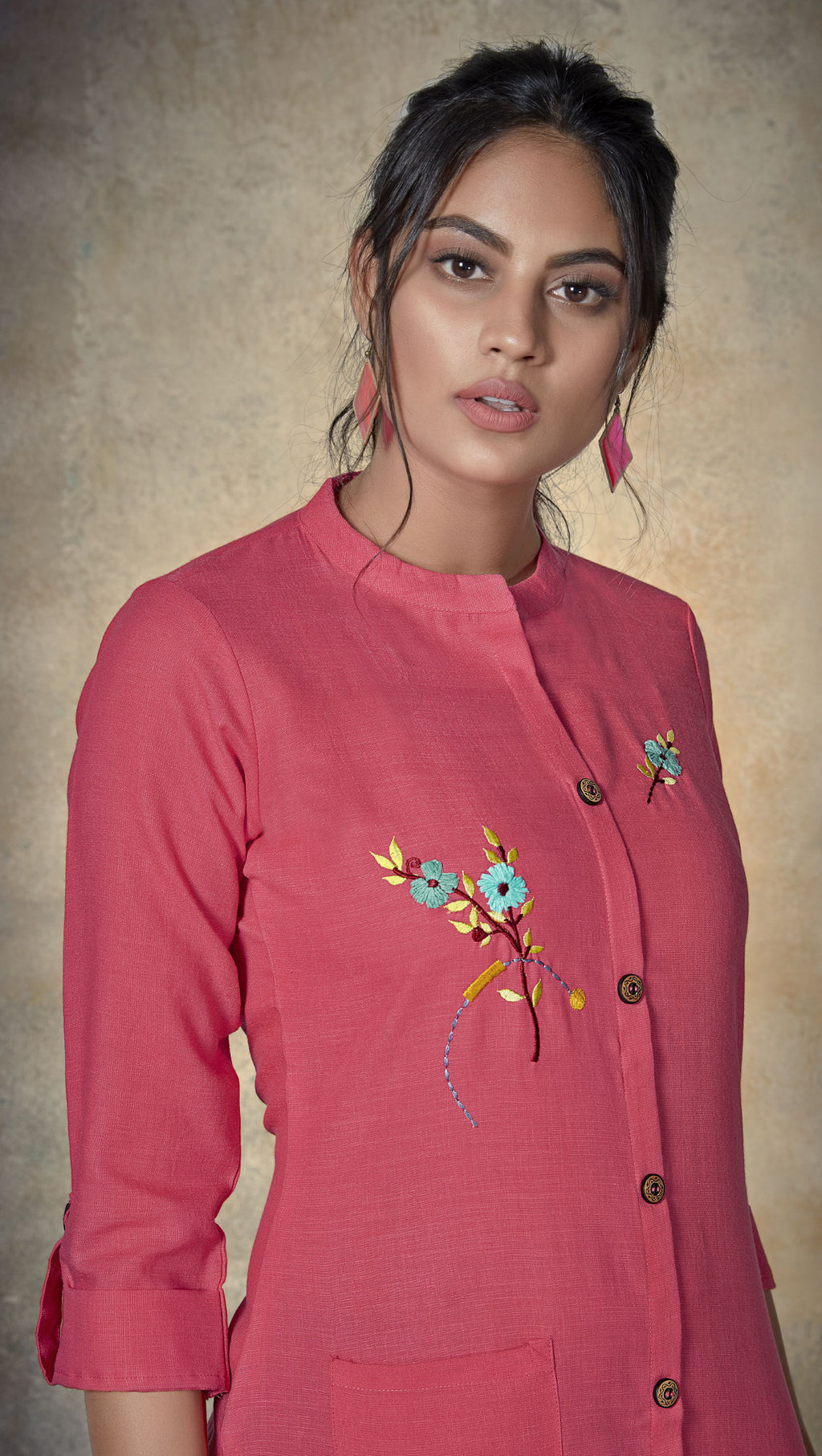 Pink Color Cotton Daily Wear Kurtis NYF-9140