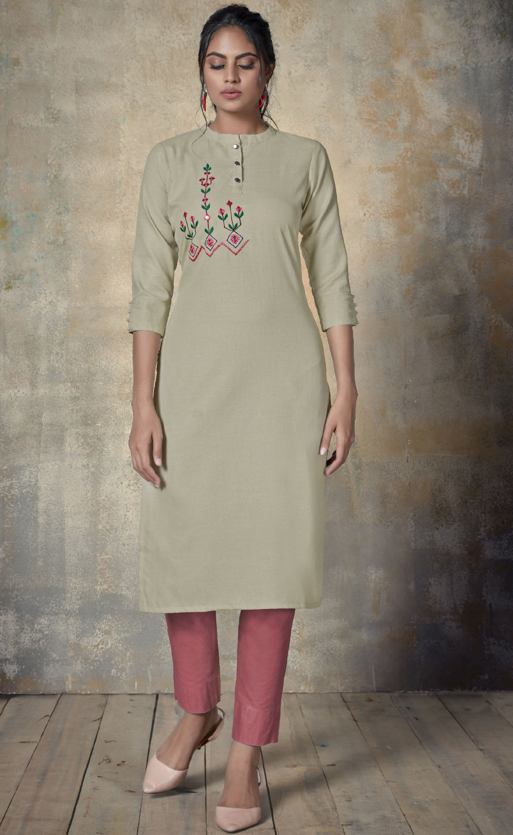 Cream Color Cotton Daily Wear Kurtis NYF-9144