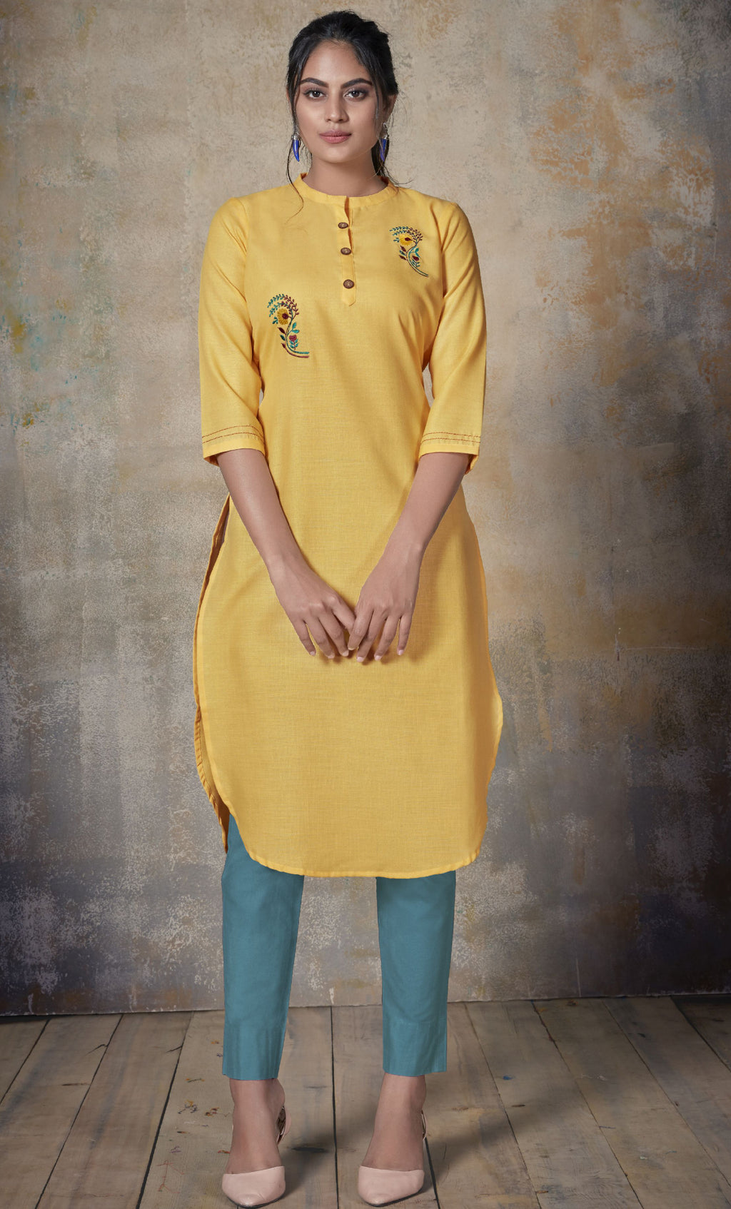 Yellow Color Cotton Daily Wear Kurtis NYF-9148