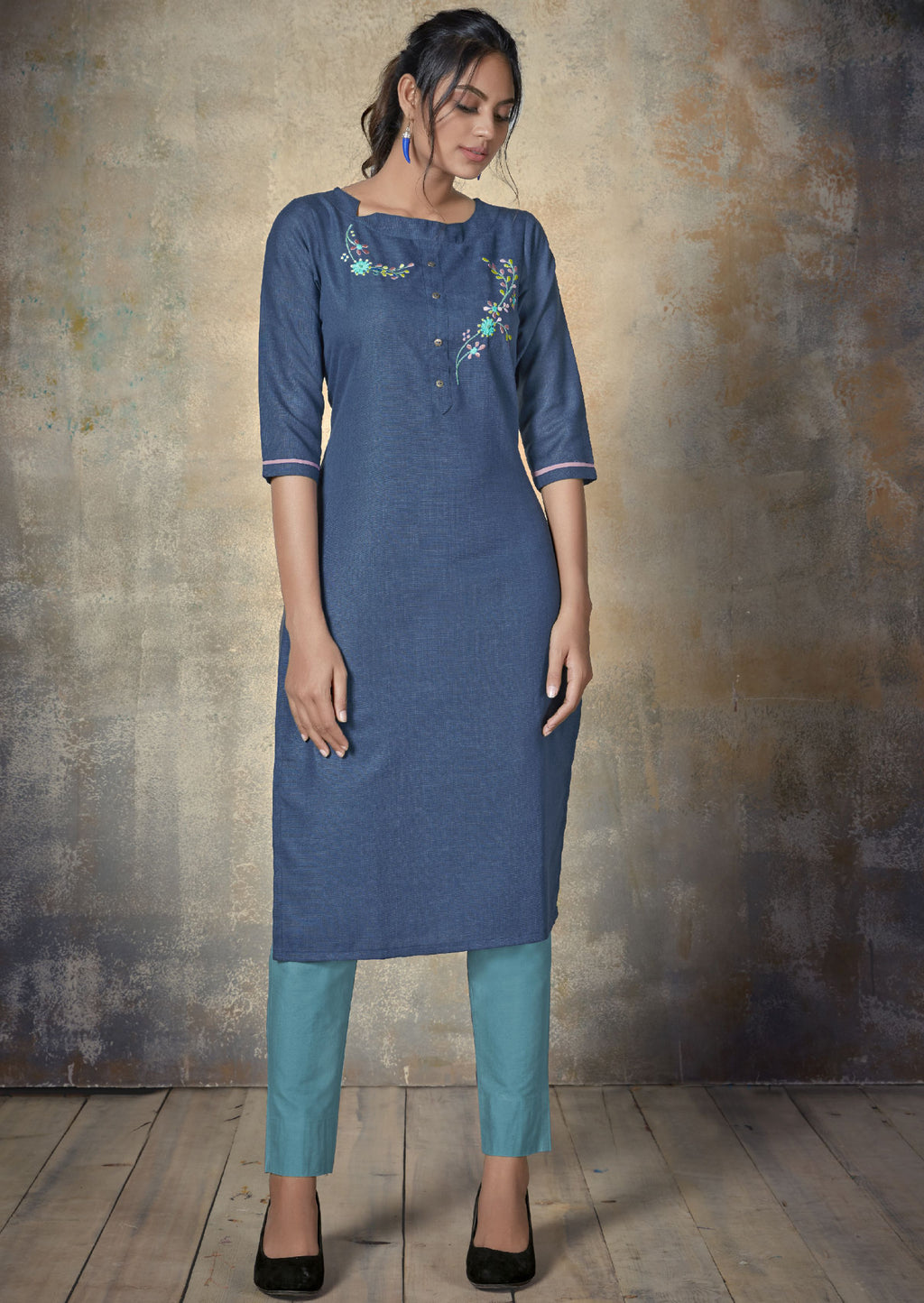 Blue Color Cotton Daily Wear Kurtis NYF-9152