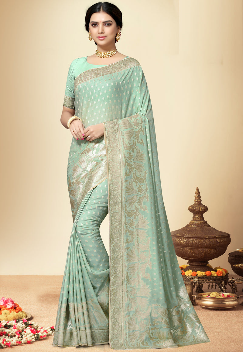 Light Aqua Green Color Banarasi Silk  Designer Wedding Function Sarees NYF-5683