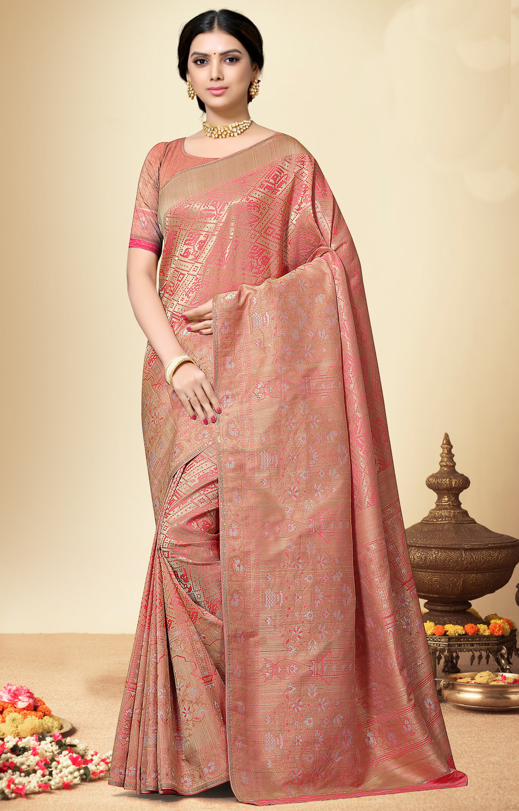Pink Color Banarasi Silk  Designer Wedding Function Sarees NYF-5684