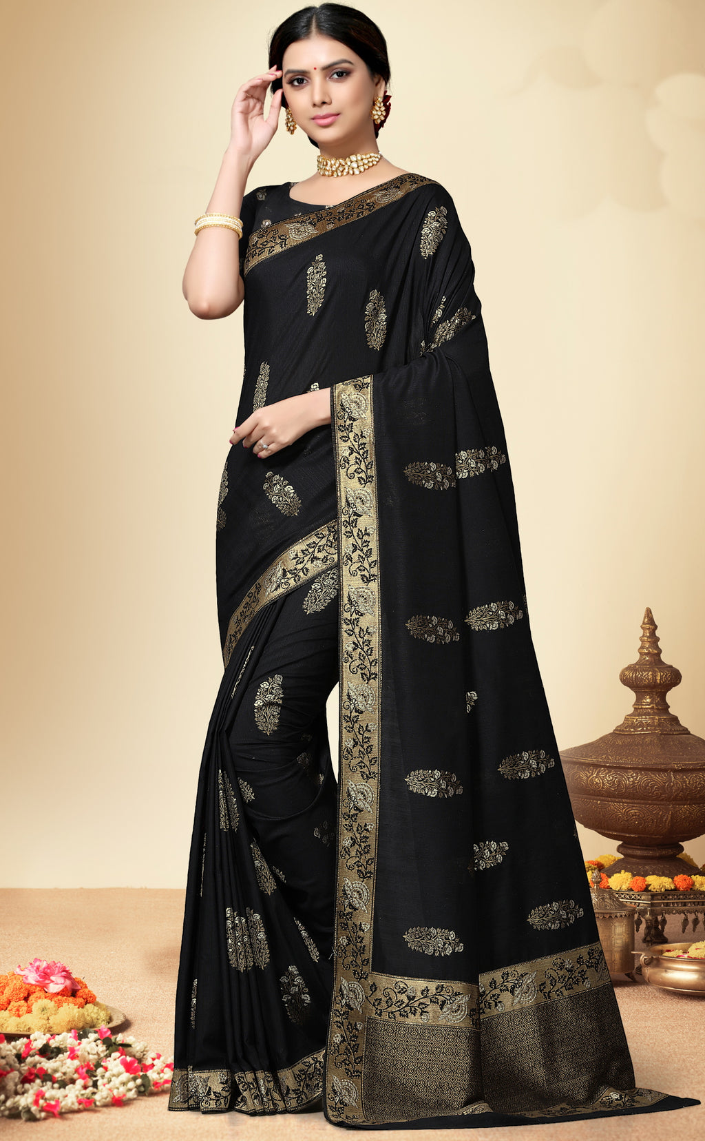Black Color Banarasi Silk  Designer Wedding Function Sarees NYF-5685