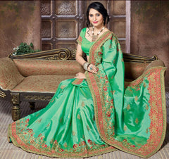 Green Color Crepe Silk Designer Festive Sarees : Niyara Collection  YF-51817