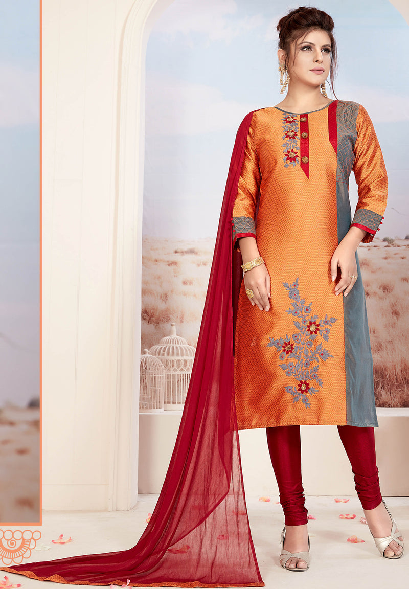 Orange Color Banarasi Jacquard Readymade Party Wear Straight Suits NYF-9667