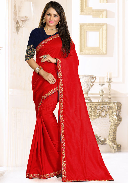 Red and Blue Color Rawsilk Ethinic Wear Saree -   Aashita Collection  YF#10990