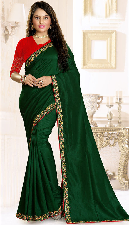 Bottle Green and Red Color Rawsilk Ethinic Wear Saree -   Aashita Collection  YF#10991