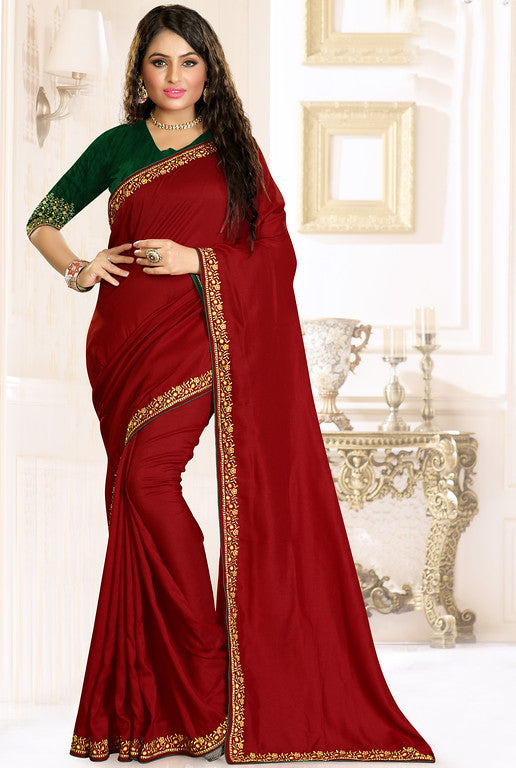 Maroon and Green Color Rawsilk Ethinic Wear Saree -   Aashita Collection  YF#10994