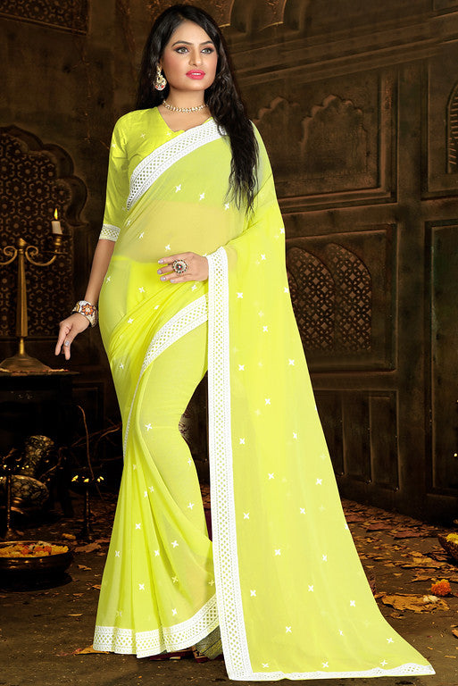 Bright Yellow Color Georgette Ethinic Wear Saree -  Aaloka Collection  YF#10996