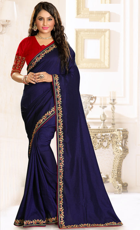 Ink Blue and Red Color Rawsilk Ethinic Wear Saree -  Abhitha Collection  YF#11011