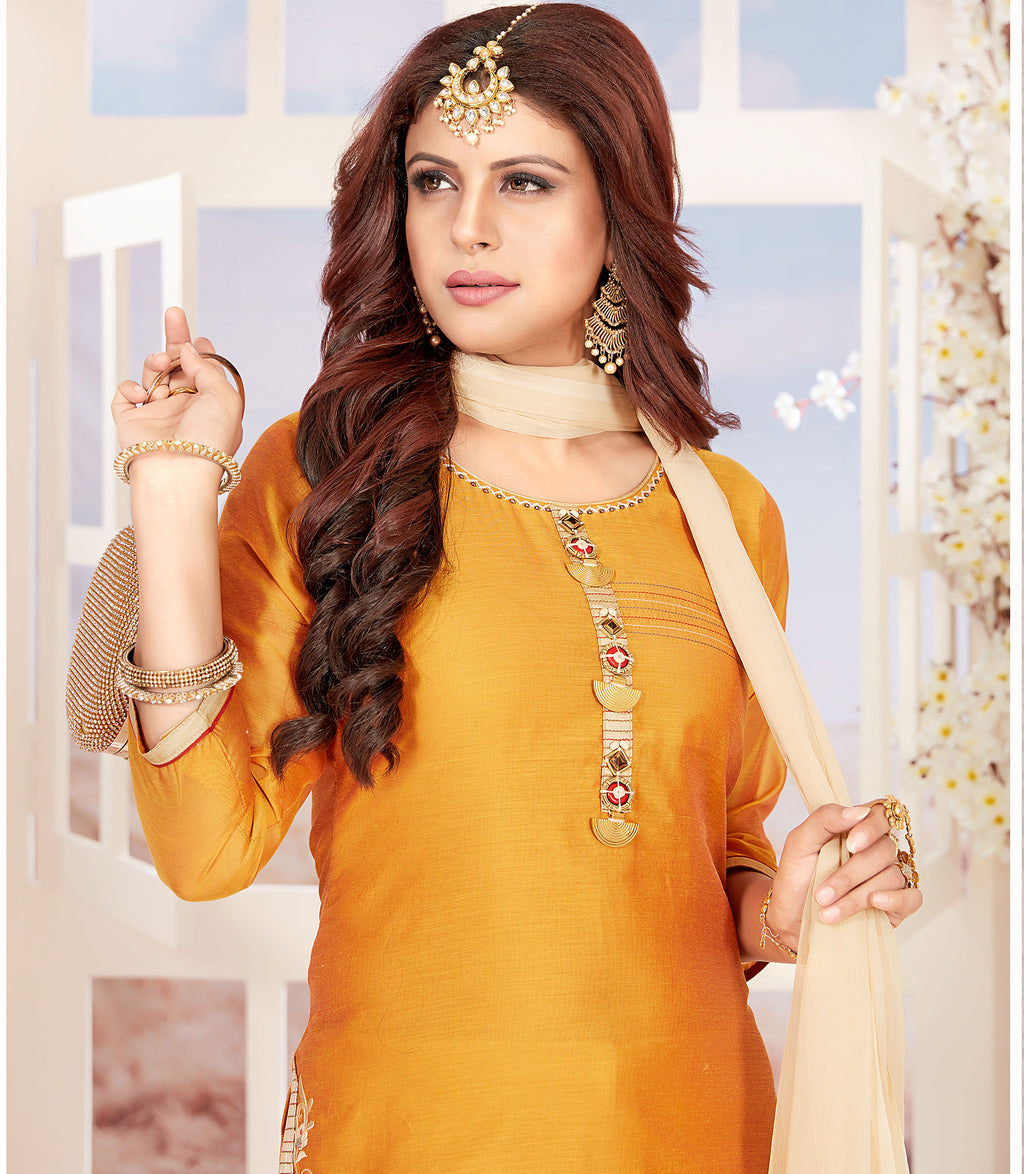 Yellow Color Chanderi Readymade Party Wear Straight Suits NYF-9670