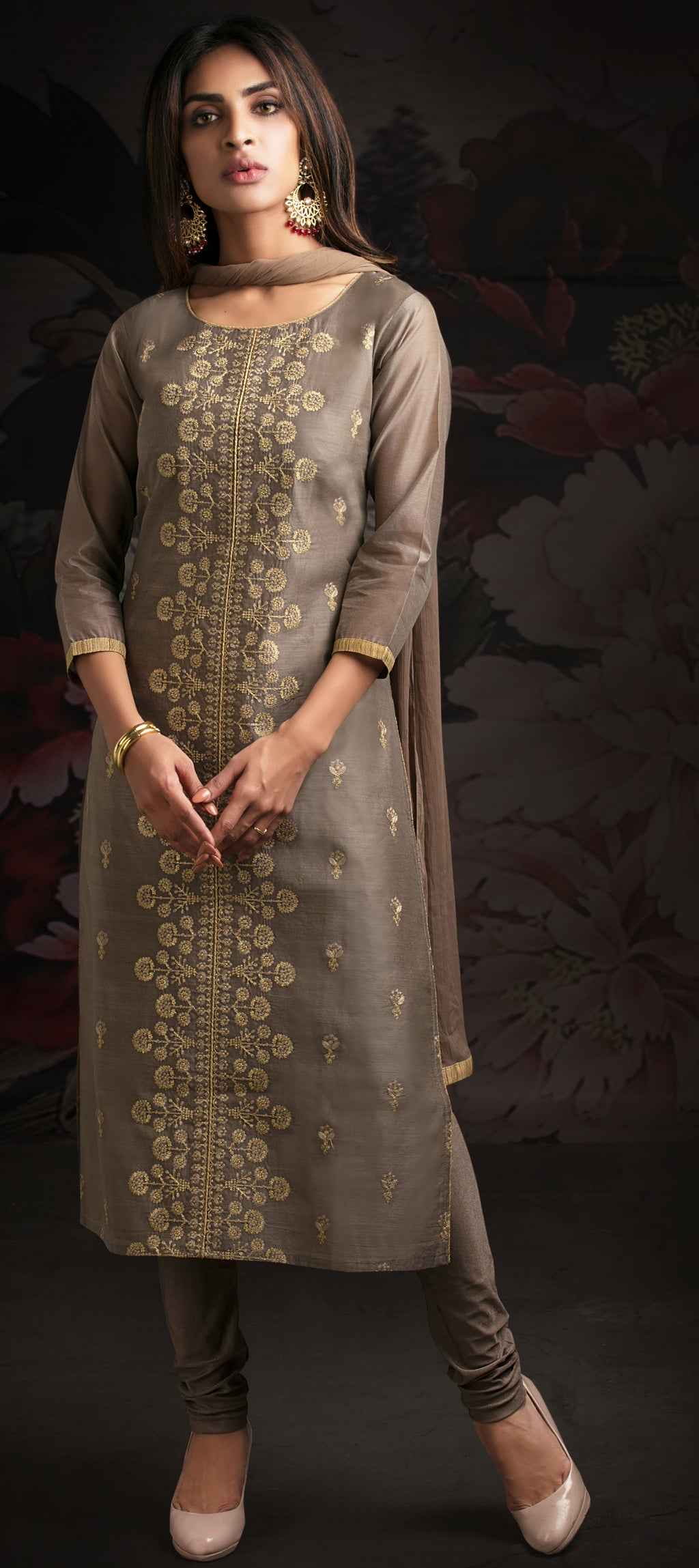Grey Color Chanderi Readymade Party Wear Straight Suits NYF-9631