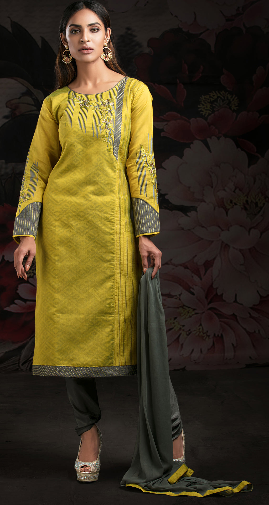 Yellow Color Jacquard Readymade Party Wear Straight Suits NYF-9607