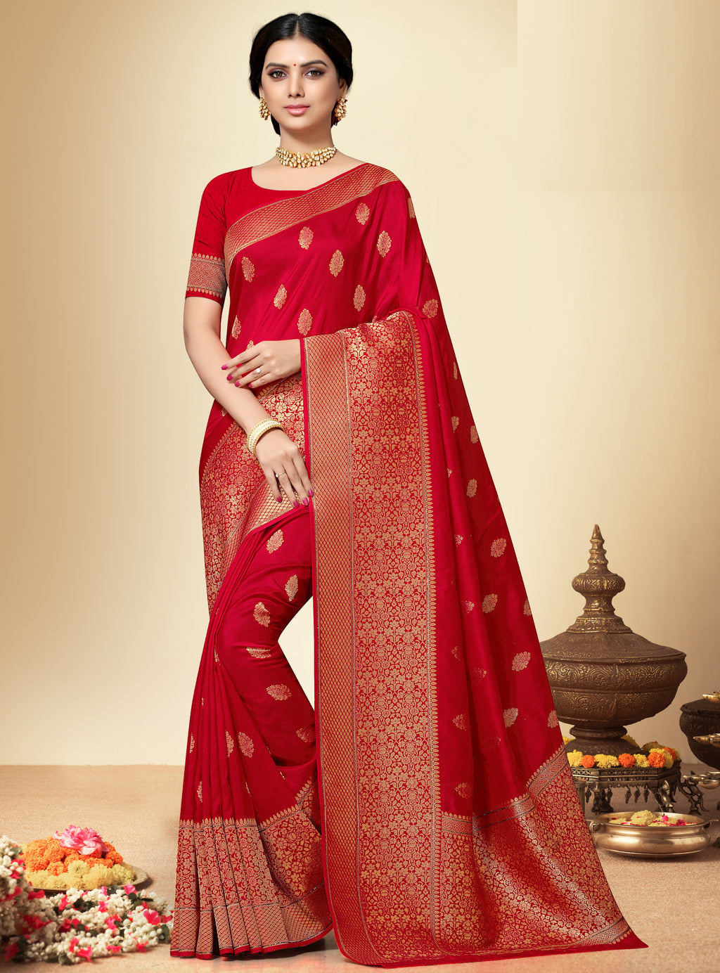 Red Color Banarasi Silk  Designer Wedding Function Sarees NYF-5686