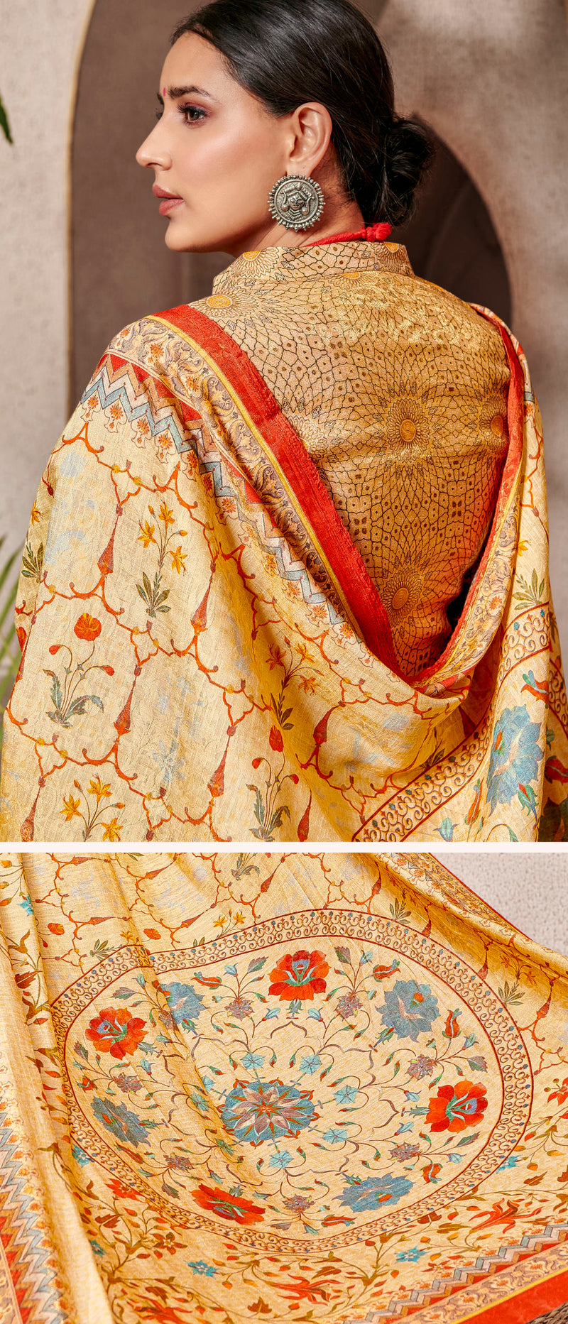 Yellow Color Banarsi Silk Digital Print Sarees NYF-5239