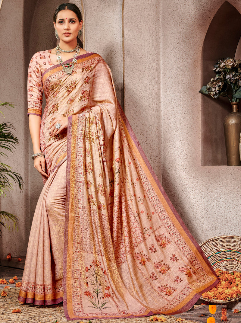 Light Peach Color Banarsi Silk Digital Print Sarees NYF-5240