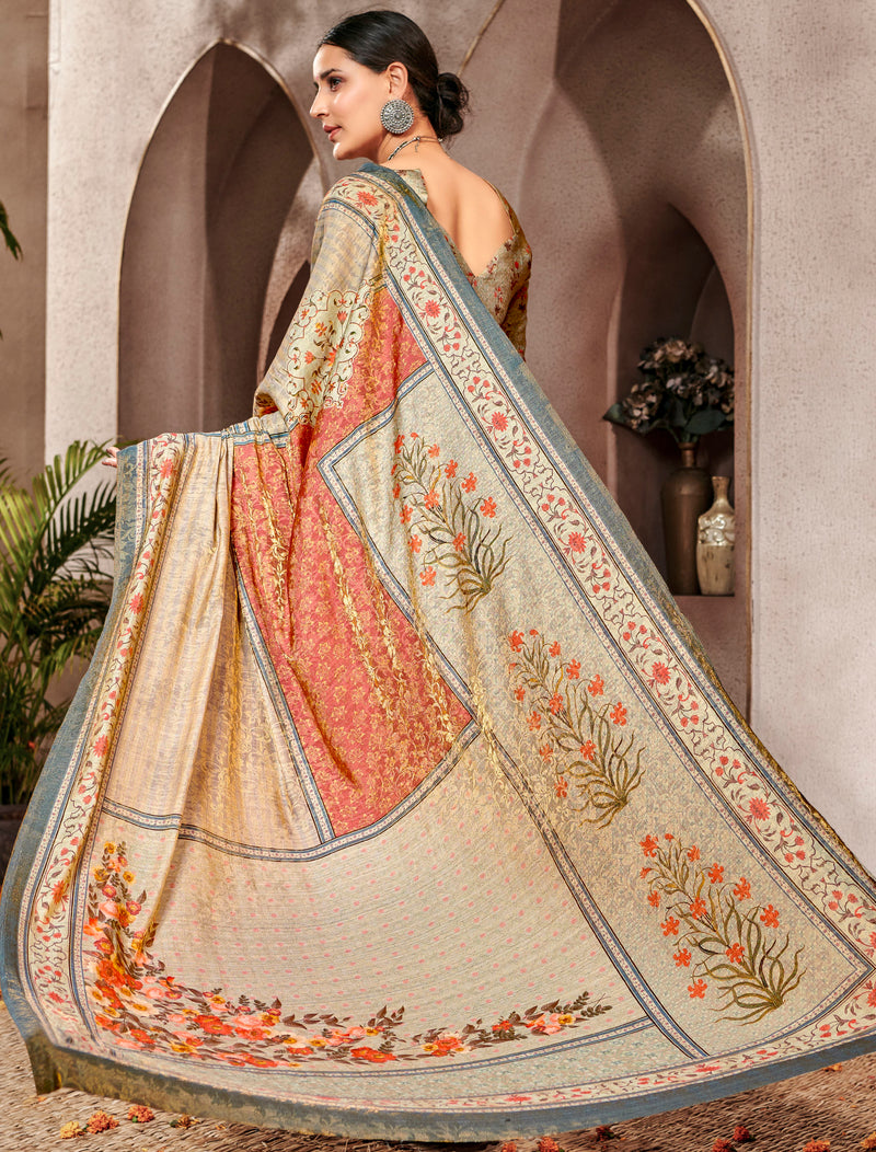 Multi Color Banarsi Silk Digital Print Sarees NYF-5241