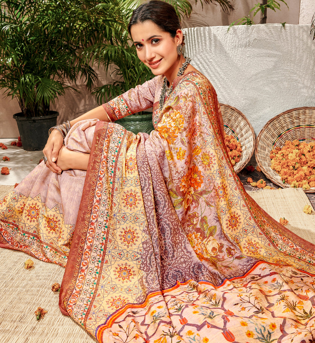 Multi Color Banarsi Silk Digital Print Sarees NYF-5245