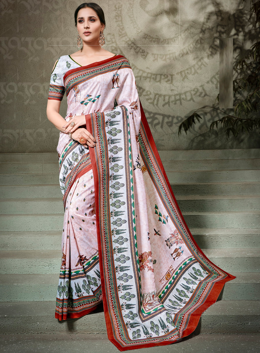 Pink Color Tusser Silk Radiant Festive Sarees NYF-5225