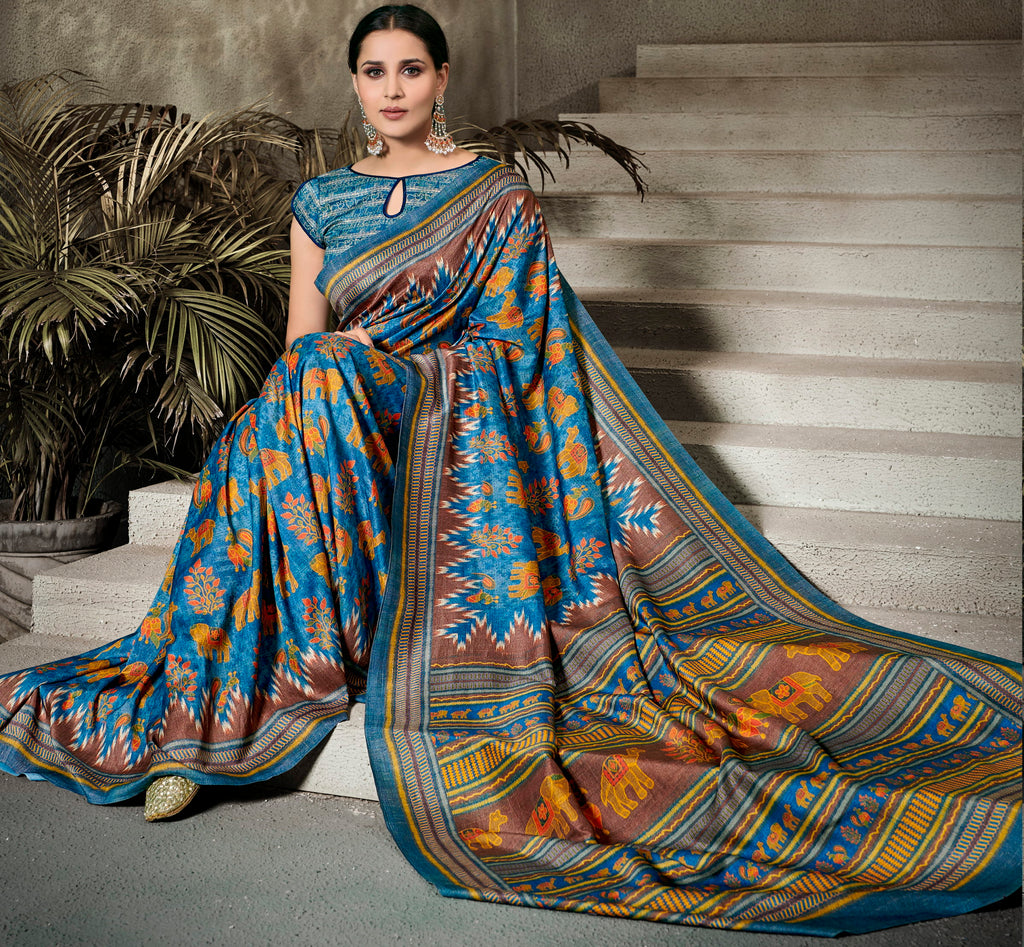 Blue Color Tusser Silk Radiant Festive Sarees NYF-5227