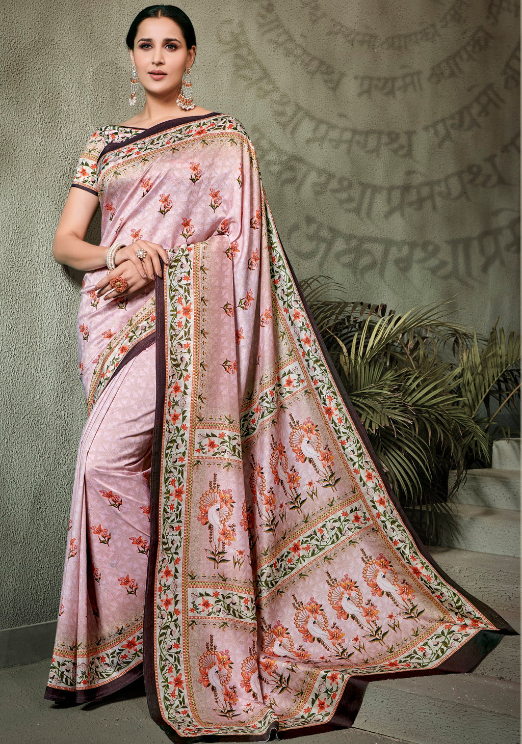 Pink Color Tusser Silk Radiant Festive Sarees NYF-5228