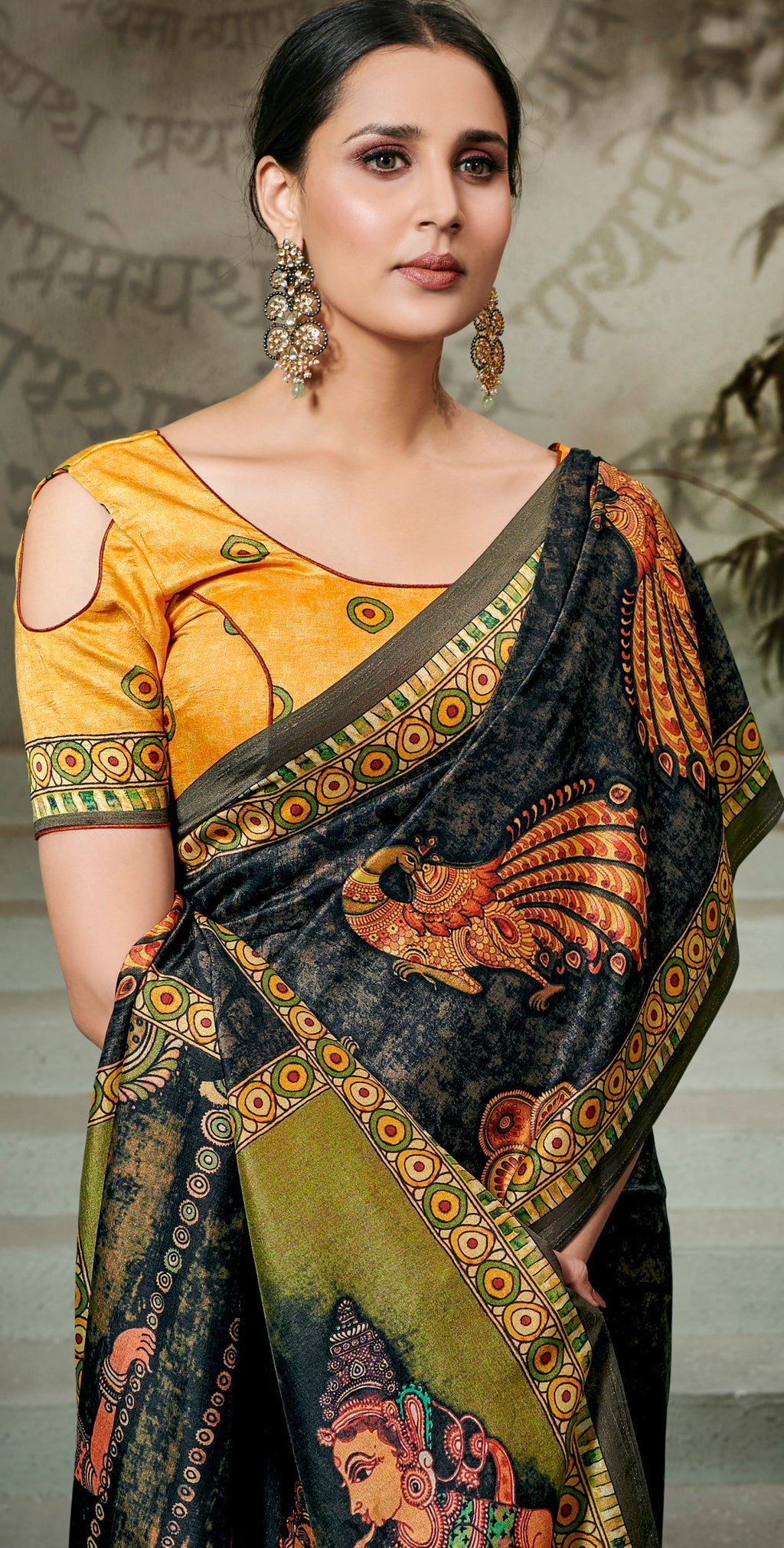 Black Color Tusser Silk Radiant Festive Sarees NYF-5229