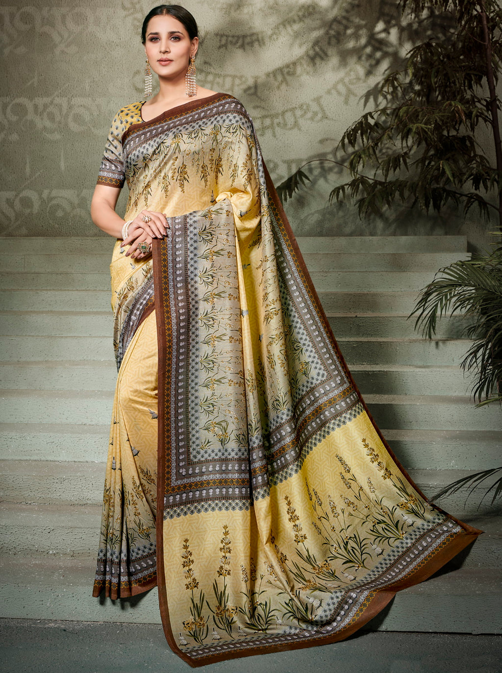 Yellow Color Tusser Silk Radiant Festive Sarees NYF-5230